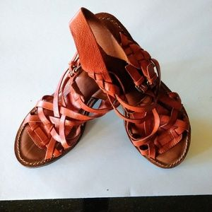 Lucky Brand Women's Woven Leather Heeled Sandal